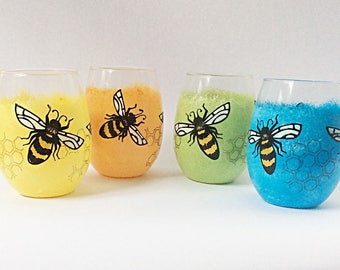 Bee cups  stemless wine juice glasses hand painted