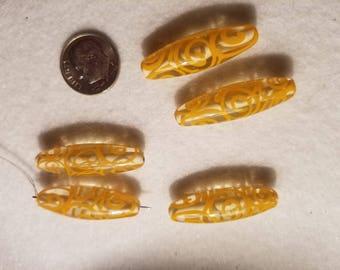 1 30x10mm Yellow Clear with Yellow Swirls Cigar Lampwork Glass Bead C10