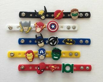 Superhero Party Favors, Charm Bracelets, Avengers Party, Superhero Birthday
