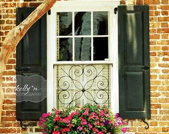 Window Photograph- Charleston SC Window Print, Window Box Photo, Flower Box Photo, Black Shuttered Window Photo, Black and Red Wall Art