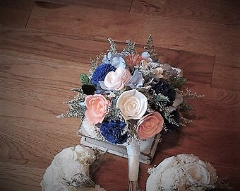 Wedding Bouquet, Sola bouquet, succulent Bouquet,  Dried Bouquet, Bride Bouquet, Sola flowers, Alternative Bouquet, Rustic Handmade