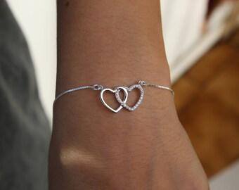Dainty Bracelet, Love Bracelet, Heart Bracelet, Delicate Bracelet, CZ Bracelet, silver Bracelet,  valentines day, Bracelet for Women