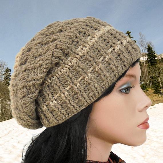 Crochet hat patterns Women slouchy hat Crochet beanie hat tutorial ...