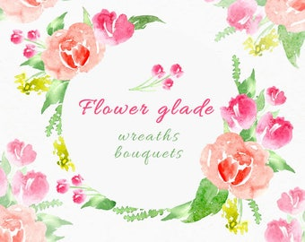 Hand Painted Watercolor floral wreaths clipart - Isolated elements - Flourish, rose, flowers, boho, romantic, wedding, country, leaves