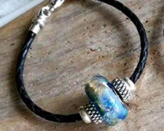 Trillium Petite Slide Memorial Leather Bracelet,Ashes in Glass, Pet Memorial, Cremation Jewelry