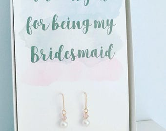 Thank you Bridesmaid gift, rose gold earrings, blush bridesmaid earrings, pink bridal party gifts, maid of honor gift,  blush gold jewellery