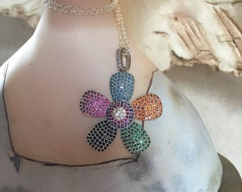 Beautiful Pave Flower Necklace