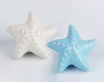 Starfish Ceramic Knobs and Pulls - Cabinet Knobs Hardwares /Children Room Dresser Knobs / Drawers Knobs /Door Knobs  A007-6