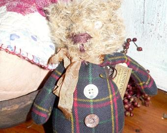 Primitive Mohair Teddy Bear, Home Decor, Prims, Primitive Bear, Mohair Bear, Teddy Bear, Primitive Teddy Bear, Prim Teddy,    HAFAIR