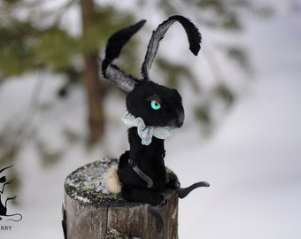 Black bunny creature Creepy cute doll Stuffed bunny Easter rabbit basket farm animal Poseable animals rabbit toy Art doll soft sculpture