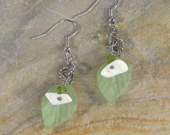 Clearance-Leaf Earrings-Wire Wrapped Earrings