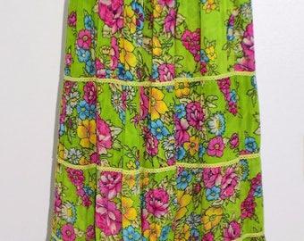 Vintage 70's Reversible Hippie Boho Ethnic Gauze Floral Print Maxi Skirt - S/M