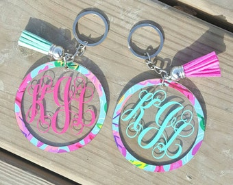 Monogram Keychain with tassel, monogram circle keychain
