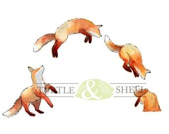 Custom Watercolor Fox Jump 8x10 Print