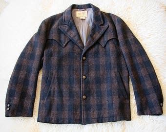 1950s, Field and Stream, Mens Wool Jacket, SZ 40