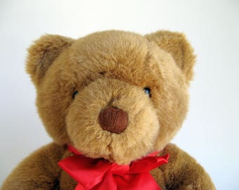 Vintage Dakin Teddy Bear stuffed animal 1980s Toys Red Ribbon Classic Teddy Bear 1989