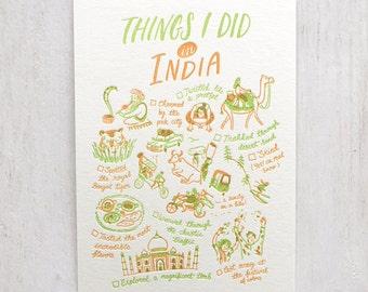 J'ai fait des choses en Inde typographie carte postale