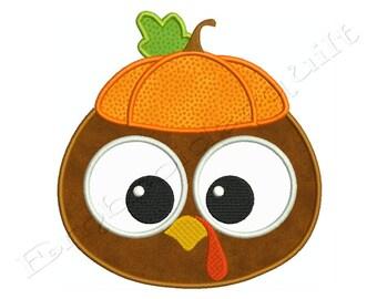 Thanksgiving BABY TURKEY PUMPKIN Machine Applique Embroidery - Instant Digital Download
