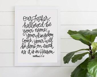 Lord's Prayer Bible Verse Digital Download, Our Father In Heaven, Matthew 6 Digital Art Print, Printable Art, Gallery Wall, Scripture