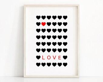 Black and Red Wall Art,  Love Print, Printable Wall Art,  Printable Home Decor Art Print,  Printable Love Poster, Black And Red Hearts Print