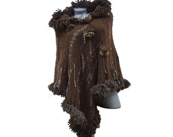 Knit hooded womens poncho, Thick brown fringed cape, Heavy warm boucle sweater with hood and fringes