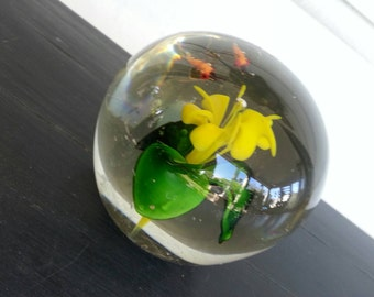 Vintage glass paperweight yellow lemon  flower and bees