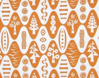 Modern Fabric - Andover Flock Thomas Knauer Mod Trees Tangerine Orange /Yd