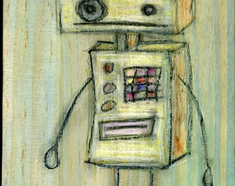 Robot drawing on wood canvas.  8 x 12 inches.