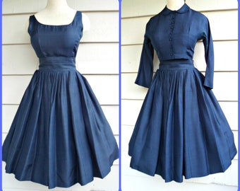 Vintage 1950s Dress - 4/6 -  Full Pleated Circle Skirted Navy Dress with Matching Belt and Jacket with Peter Pan Collar and Covered Buttons