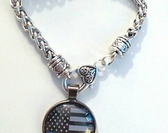 Police Bracelet with thin Blue Line Flag