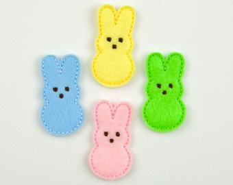 MARSHMALLOW RABBIT - Embroidered Felt Embellishments / Appliques - Multi Pastel  (Qnty of 4) SCF1060