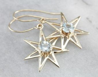 Aquamarine Drop Earrings, Star Drop Earrings, Gold Star Earrings, Statement Earrings 7LR2P81W-D