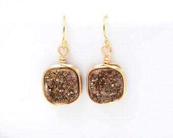 Druzy Earrings | Bronze & Gold Druzy Earrings | Wire Wrapped Earrings | Dangle Druzy Earrings | Druzy Quartz Earrings