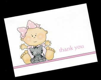 Baby Shower Thank You Cards - Baby Girl - Baby Girl With Gray Kitten - Baby Girl Thank You Cards - Blank Cards - Note Cards - Set of 20