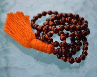 108 Rosewood Red Sandalwood w/ Fragrance Hand Knotted Mala Beads Necklace, Prayer Beads Mala Necklace For Healing Meditation Mantra Chanting