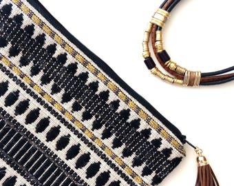 black and gold metallic boho clutch purse bag
