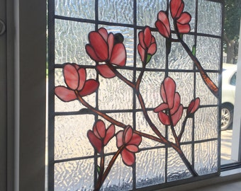 Stained Glass Flower Branch Floral Pink Window Panel Sun Catcher