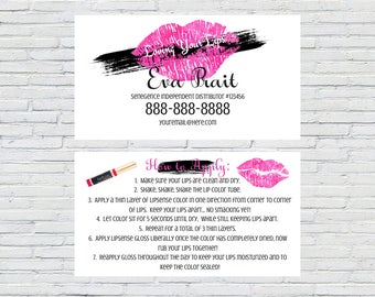 """LipSense Senegence Business Card with """"How to Apply""""  Instructions on back 