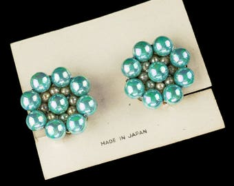 Made in Japan Green Cluster Bead Earrings | NOS on Original Card