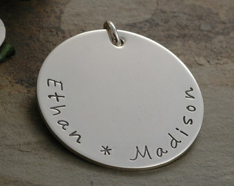 Add a Charm - 1 inch sterling silver round disc - Your own words or names