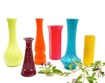 Assorted COLOR POP Vintage Bud Vases || Modern Bohemian Chic Decor || Wedding Bridal Baby Shower Eclectic Tablescape Centerpiece