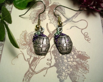 Wine Barrel  & Grape Earrings . Hand Painted.