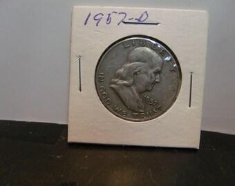1957-D ben franklin half dollar 90 % silver VG