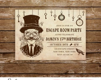 Escape Room Invitation Escape Party Invitation Escape Room