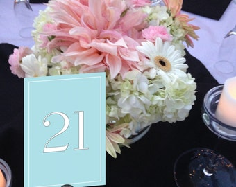 Monogram Table Numbers, Robins Egg Blue and White Table Numbers, Formal Dinner, Formal Wedding Table Numbers 1 - 50 Instant Download