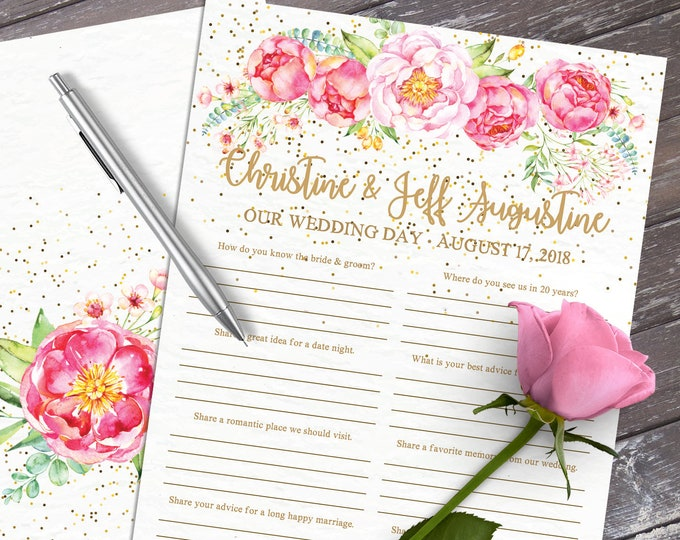 Wedding Guest Book - A4 Size - Guest Book Questions, Advice Card, Marriage Advice, 2-up   Editable Text INSTANT Download PDF Printable