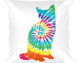Tie Dye Cat Lover Square Pillow, Tie Dyed Kitty Pillow, Cat Lady, Psychedelic Kitten, Trippy Hippy Feline Art Square Pillow