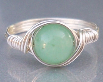 Green Aventurine Argentium Sterling Silver Wire Wrapped Stone Ring