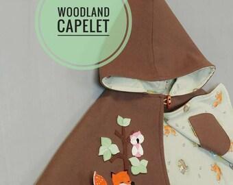 Children Capelet - Cape, Hood, Wool, Girl, Jacket, Handmade, Fox, Woodland, Ready to ship