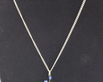 Green Aventurine, Rose Quartz, Faceted Glass and Blue and Green Crystal Chain Necklace